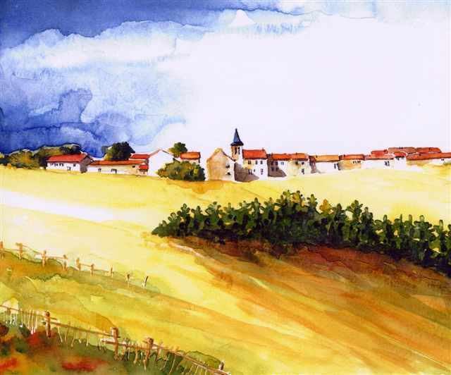 Aquarelle d'un village