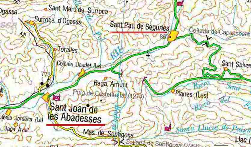 Position de Sant-Pau de Seguries sur la carte